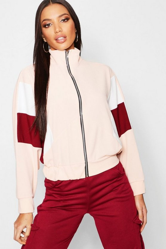 Womens Pink Panelled Oversized Bomber Jacket