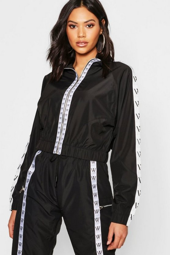 Womens Black Mono Sports Tape Cropped Jacket