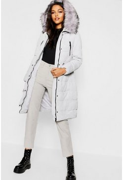Womens Grey Premium Cord Faux Fur Trim Parka