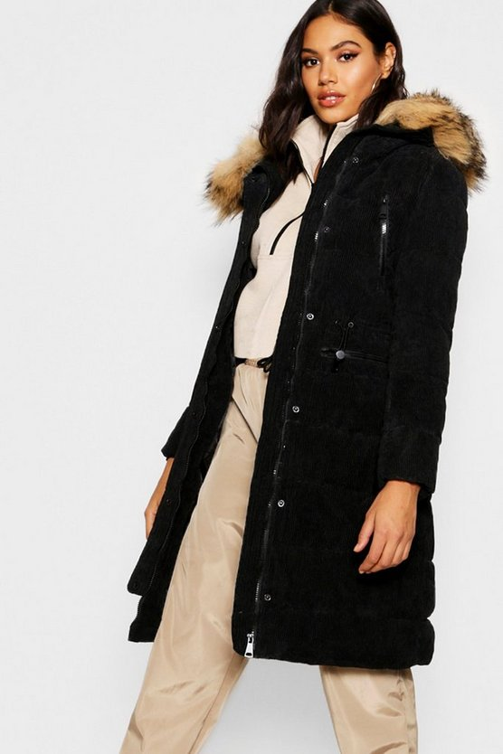 Womens Black Premium Cord Faux Fur Trim Parka