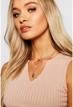 Womens Gold Double Heart & Sovereign Layered Necklace