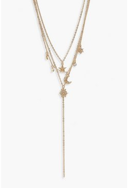 Womens Gold Moon & Stars Layered Plunge Necklace