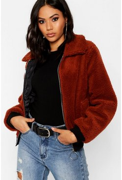 Womens Brown Teddy Faux Fur Trucker Jacket