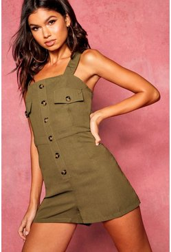 Womens Khaki Utility Cargo Horn Button Pocket Romper