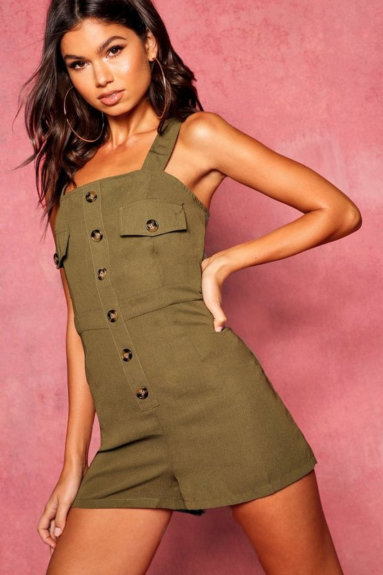 Utility Cargo Horn Button Pocket Playsuit