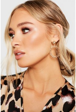 Gold Chain Vintage Look Circle Earrings