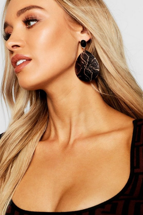 Womens Black Snake Print Teardrop Earrings