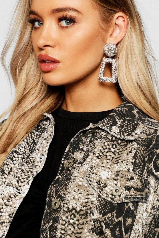 Womens Silver Textured Oversized Statement Earrings