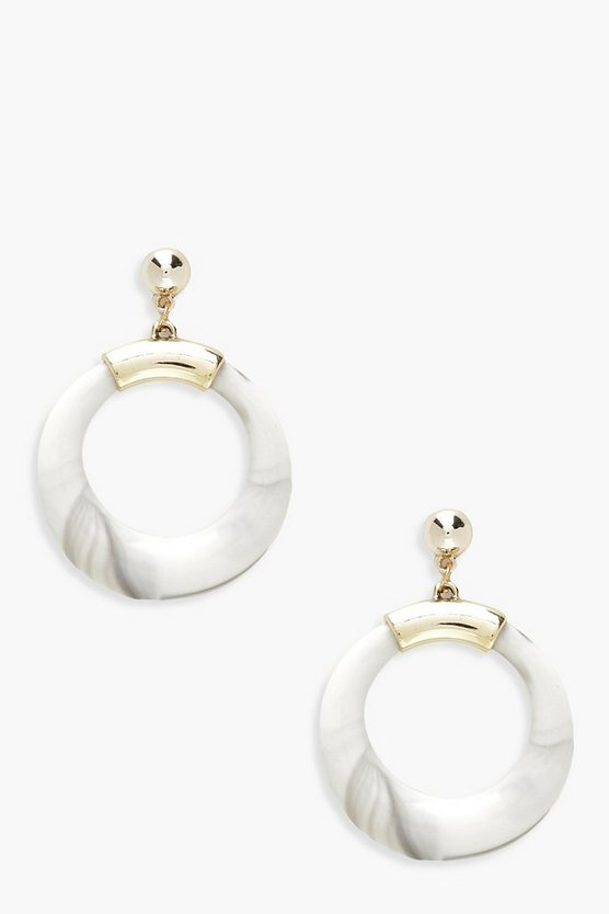 Womens Multi Marble Statement Hoop Earrings