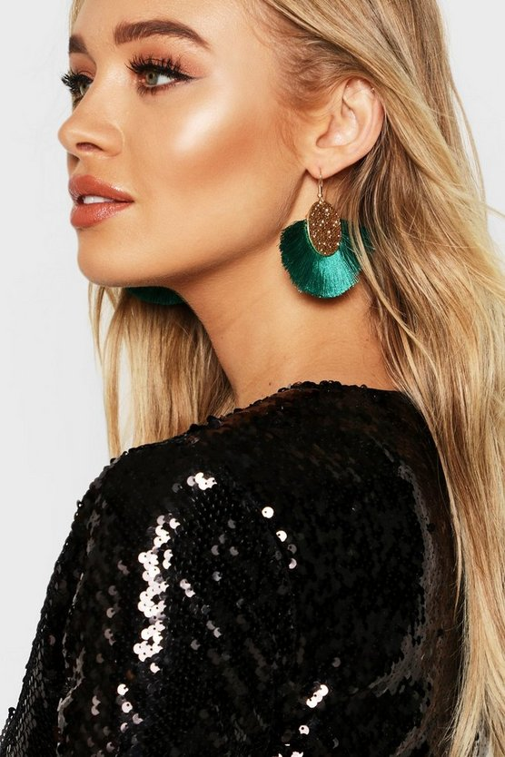 Womens Emerald Coin Tassel Earrings