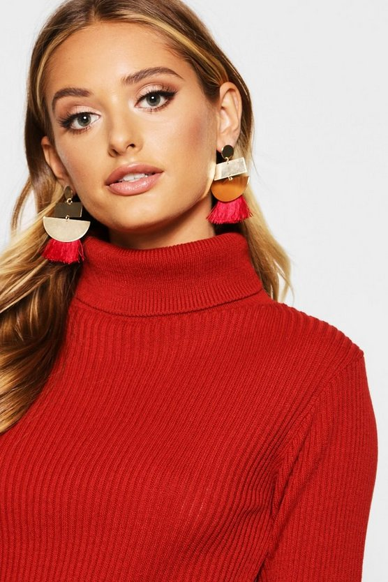 Geo Contrast Tassel Earrings