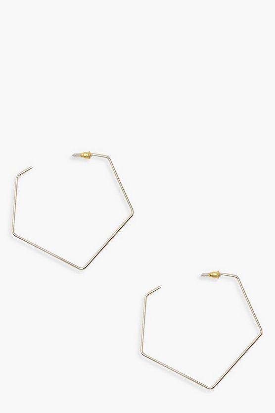 Womens Gold Pentagon Hoop Earrings