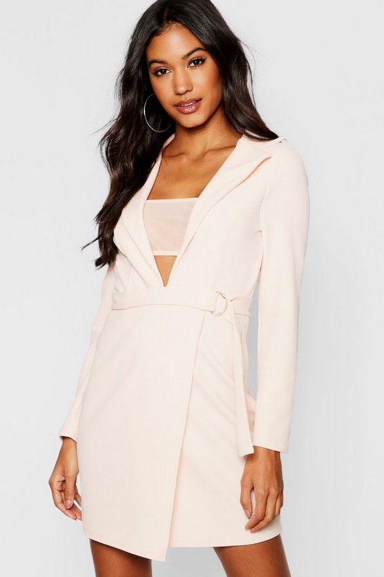 Mesh Insert Blazer Dress
