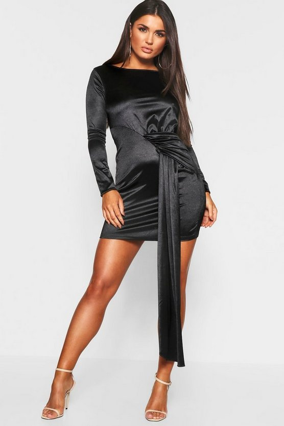 Long Sleeve Drape Front Bodycon Dress