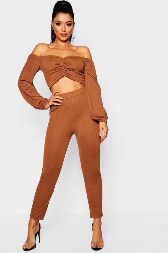 Ruched Off The Shoulder Top + Tapered Trouser Co-Ord