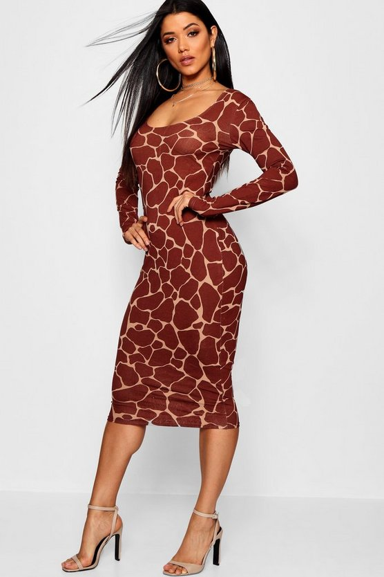 Womens Chocolate Giraffe Square Neck Bodycon Midi Dress