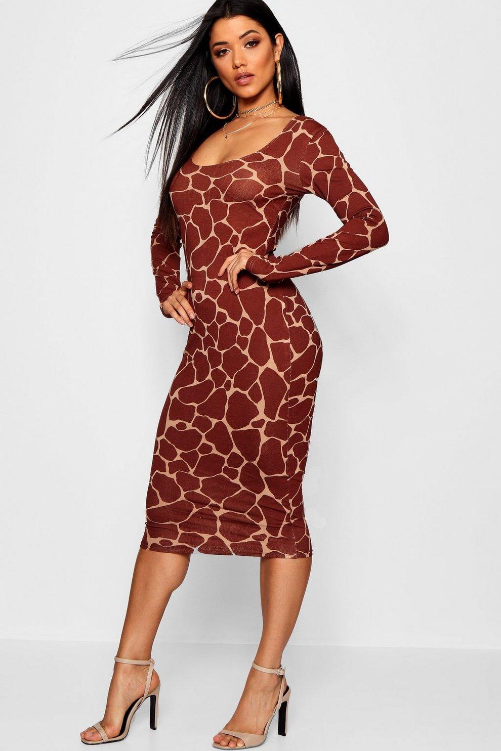 64a7ea2e5eb Giraffe Square Neck Bodycon Midi Dress