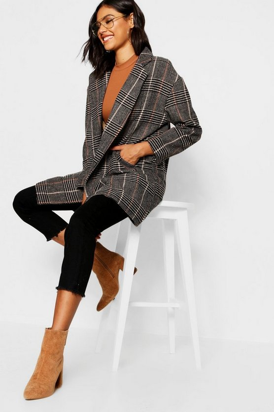 Double Breasted Check Wool Look Coat