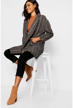 Womens Brown Double Breasted Check Wool Look Coat