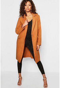 Womens Camel Tailored Wool Look Coat