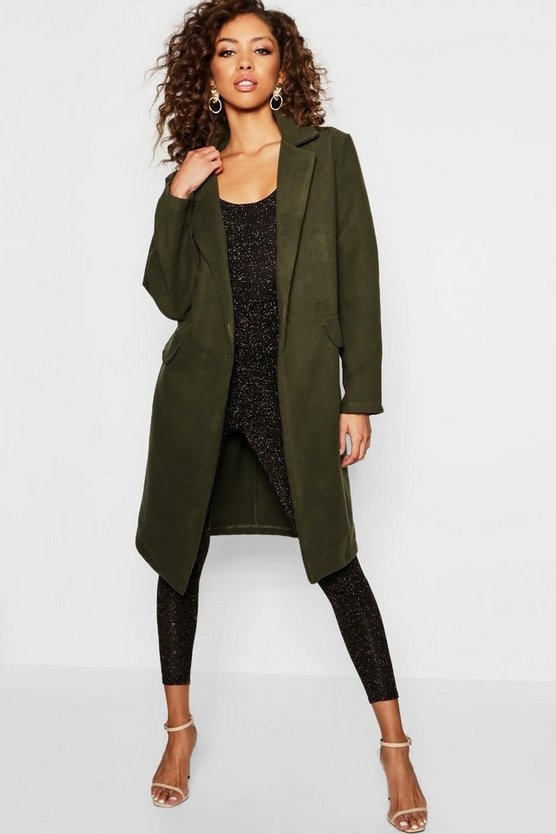 Womens Khaki Tailored Wool Look Coat