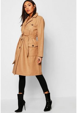 Womens Camel Pocket Detail Wool Look Coat