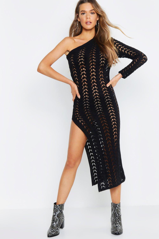 Shoulder Knit black Dress One Crochet UAqxx6
