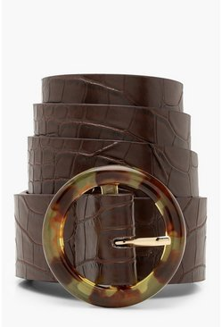 Womens Brown Croc Belt With Resin Buckle