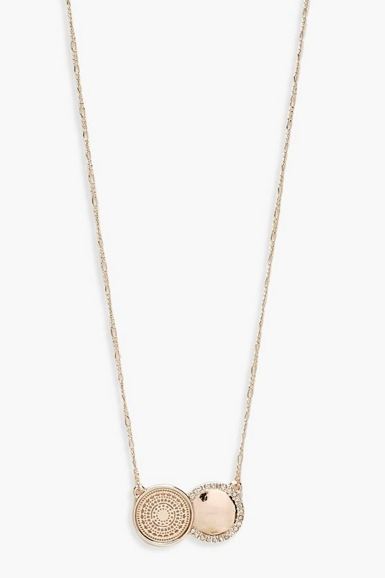 Double Coin Diamante Pendant Necklace
