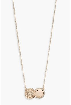 Womens Rose gold Double Coin Diamante Pendant Necklace