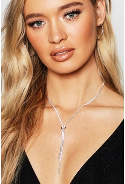 Womens Silver Statement Diamante Plunge Necklace