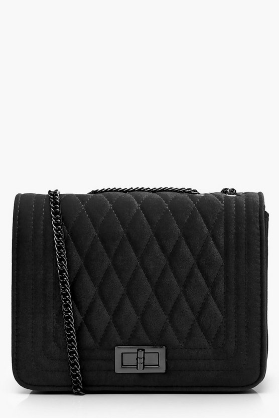 Womens Black Velvet Quilted Cross Body