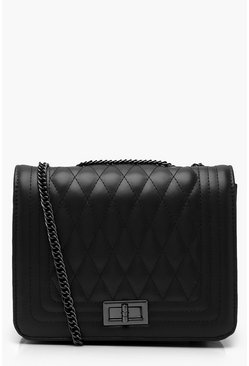 Womens Black PU Quilted Cross Body Bag