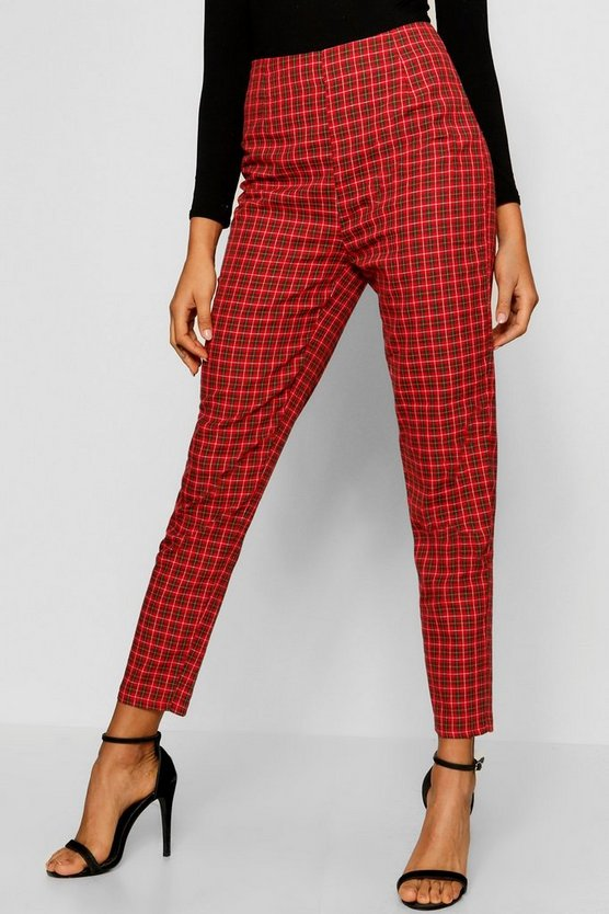Red Tartan Print Tapered Check Pants