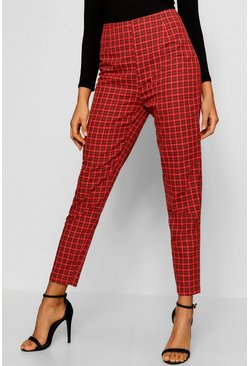 Womens Red Tartan Print Tapered Check Trouser
