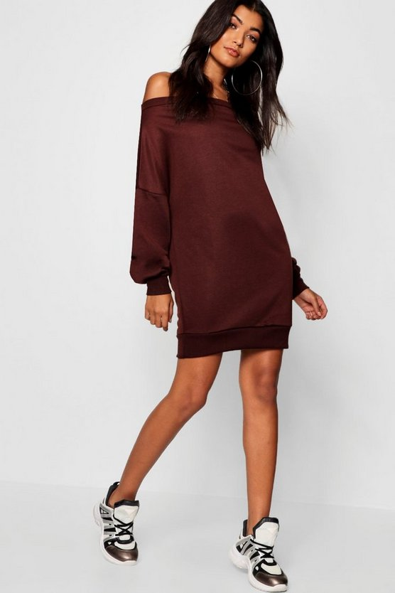 Off Shoulder Oversized Sweatshirt Dress