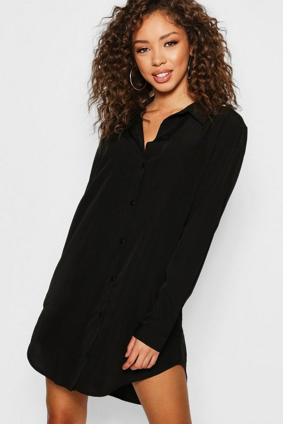 Long Sleeve Oversized Shirt Dress, Black, ЖЕНСКОЕ