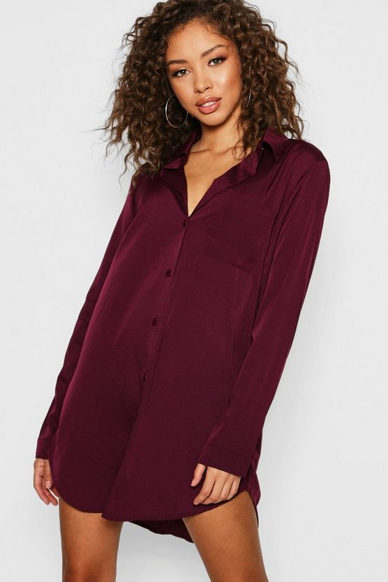 Long Sleeve Oversized Shirt Dress
