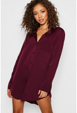 Womens Wine Long Sleeve Oversized Shirt Dress
