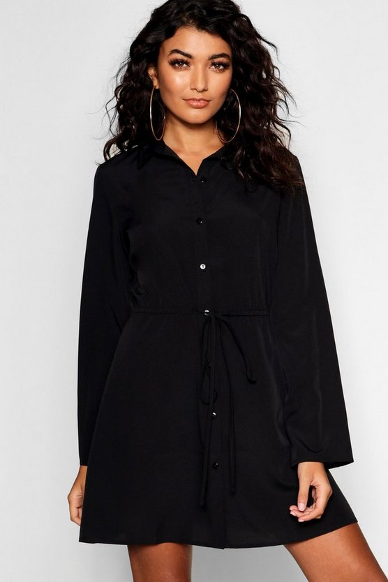Womens Black Drawcord Waist Shirt Dress
