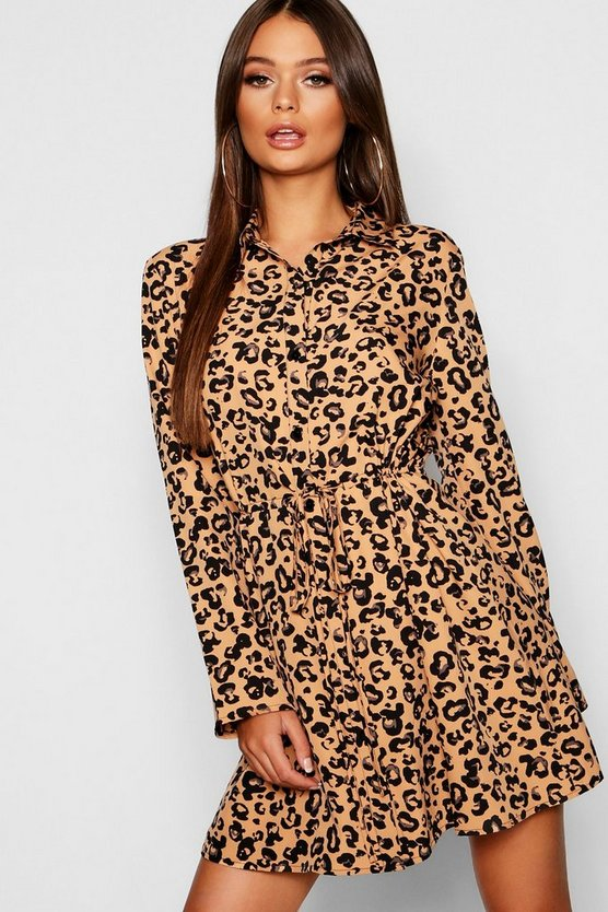 Abstract Leopard Drawcord Shirt Dress