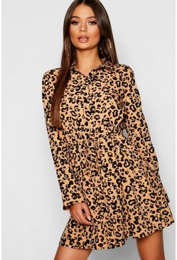 Womens Abstract Leopard Drawcord Shirt Dress
