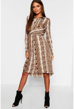 Womens Brown Snake Print Twist Front Midi Shirt Dress