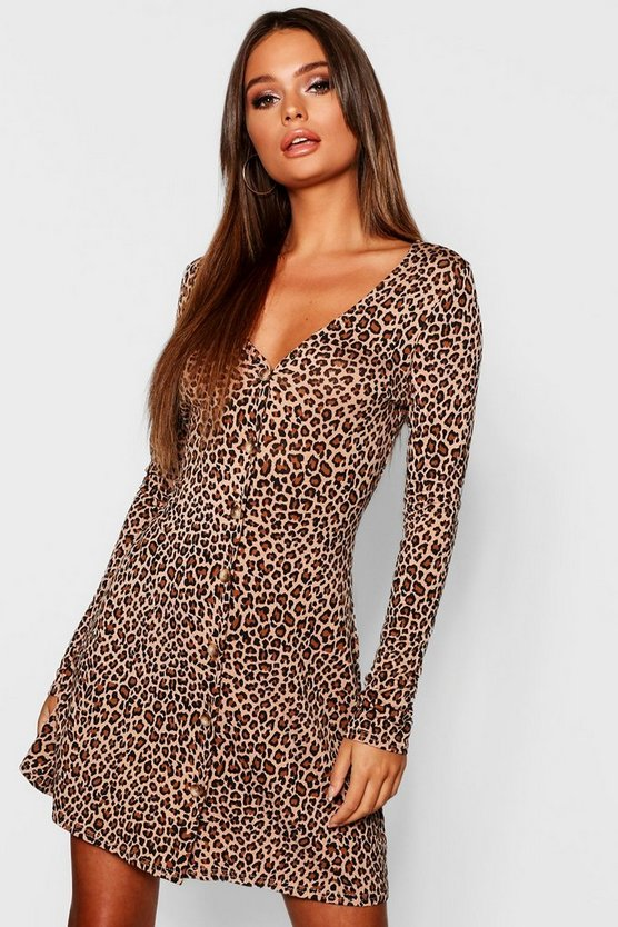 Womens Camel Leopard Print Long Sleeve Swing Dress