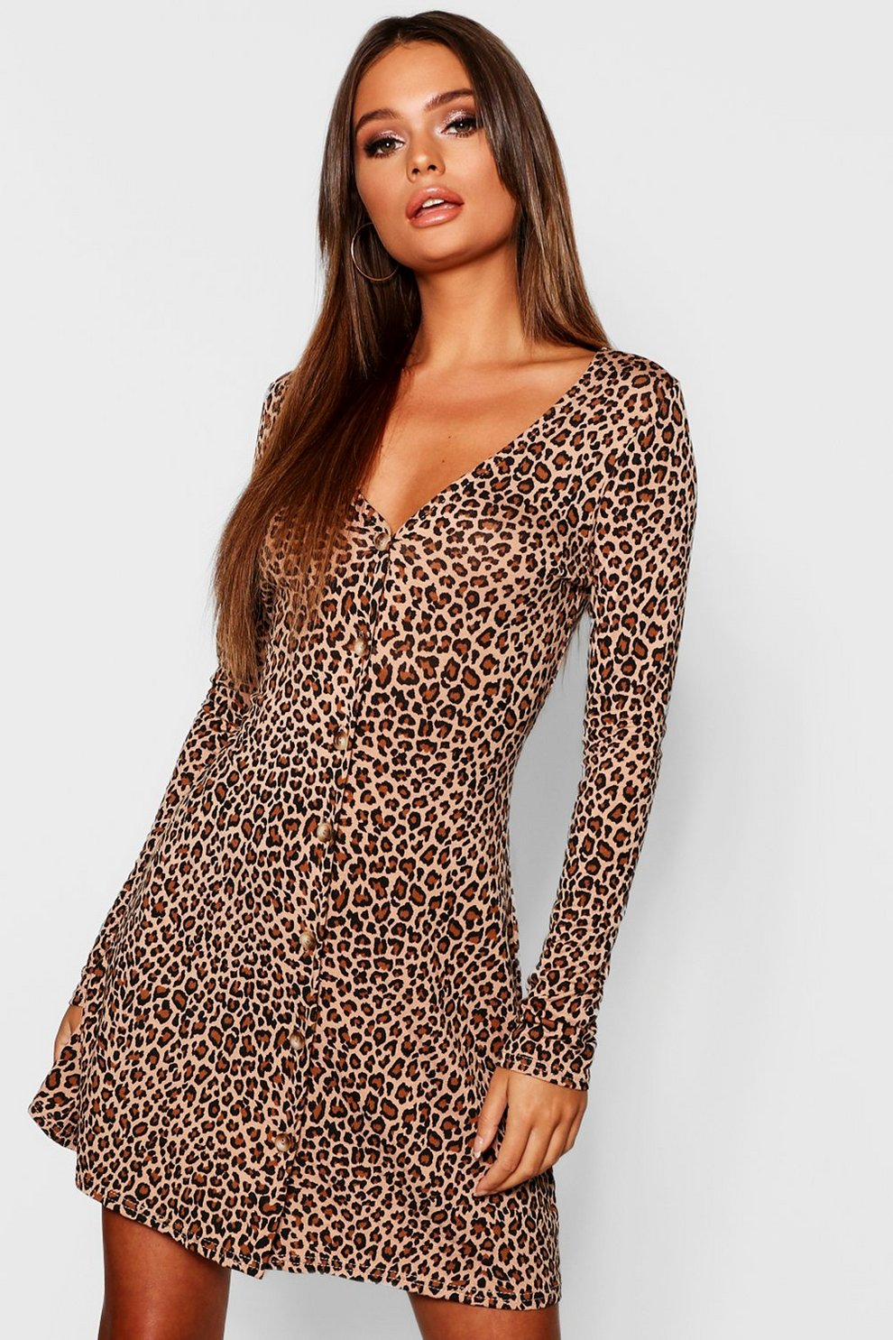 1dcff8657741 Womens Camel Leopard Print Long Sleeve Swing Dress. Hover to zoom