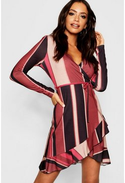 Womens Chocolate Stripe Long Sleeve Wrap Tea Dress