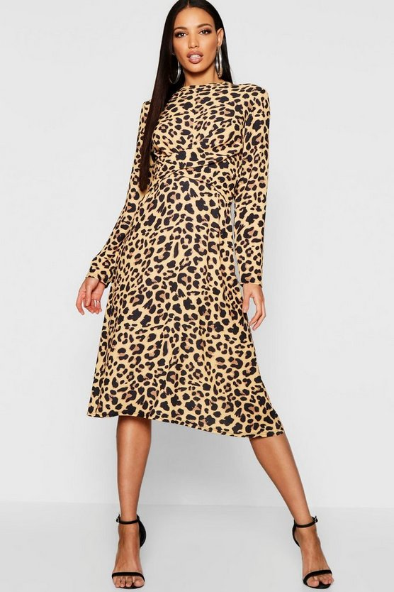 Womens Leopard Print Wrap Front Woven Midi Dress