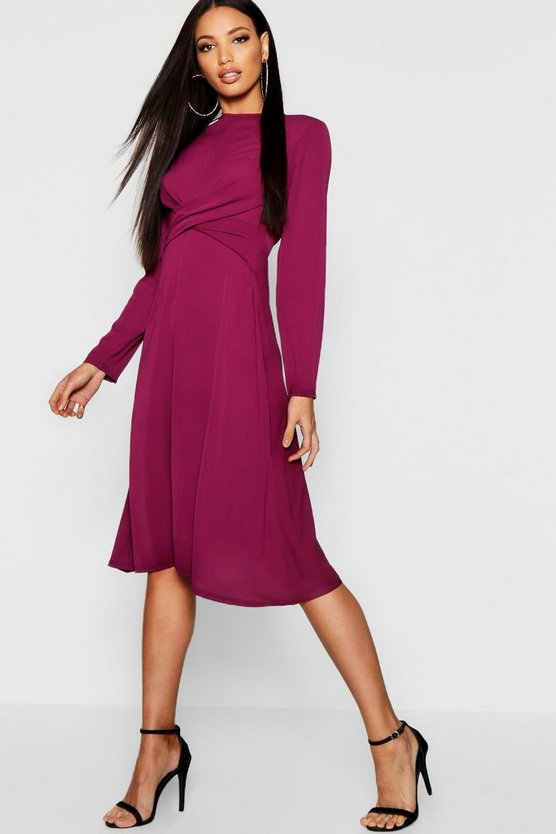Wrap Front Woven Midi Dress