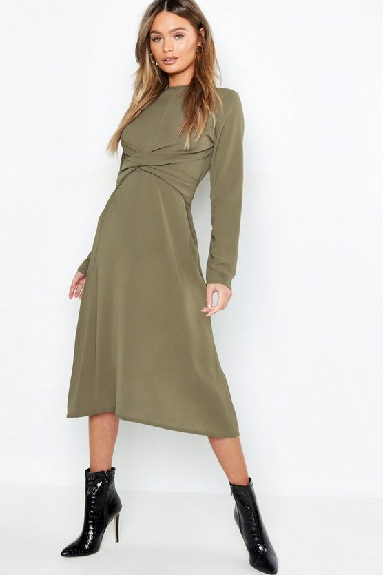 Womens Khaki Wrap Front Woven Midi Dress