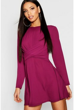 Womens Berry Wrap Front Woven Skater Dress